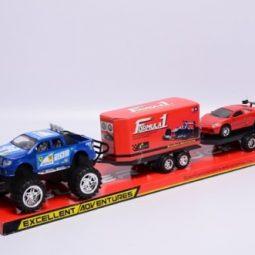 Джип с 2 ремаркета и състезателна кола