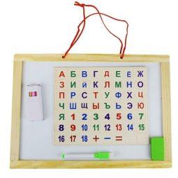 Дъска магнитна, 37х26 см, С цифри и букви на кирилица - Артикулен № 270215