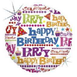 Балони Happy Birthday шарени надписи фолиеви 45 см.