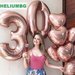 балони цифри големи розово злато хелиумбг