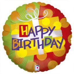 Балони Happy Birthday подарък фолиеви 45 см.