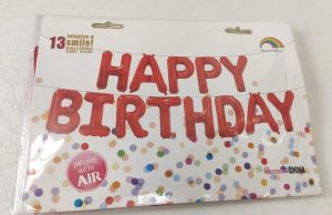 Фолиев надпис балони за рожден ден Happy Birthday червени