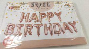 Фолиев надпис балони за рожден ден Happy Birthday розово злато