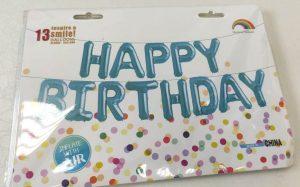 Фолиев надпис балони за рожден ден Happy Birthday сини