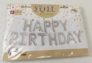 Фолиев надпис балони за рожден ден Happy Birthday сребристи