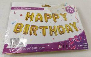 Фолиев надпис балони за рожден ден Happy Birthday златисти